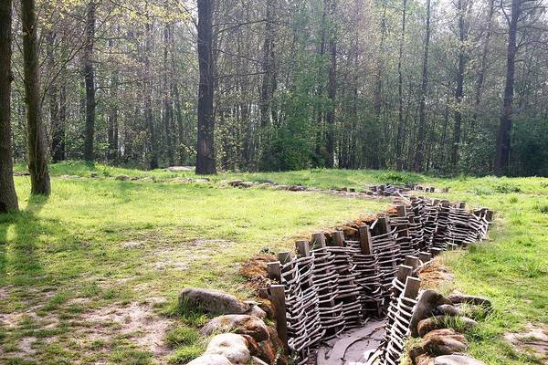 World War One Trench On The Western Front Much Of Was Spent In Long Narrow Ditch Dug Into Earth Where Soldier Lived Together Day And Night Held By Infantry Defined Line Death Never Far Away Reconstructed Section Original German System Is Wijtschate Access To Bayernwald Heuvelland Tourist Kemmel Photo Michel Guntern Travelnotes Travel Er Pics Travelpics Europe Ww1 Ypres Salient Belgium Battle Remain Symbolism Place Battlefield Tree Flander Military Old Wood Wwi Somme Reminder Tranquility Memorial Art Print featuring the photograph World War One Trenches by Travel Pics