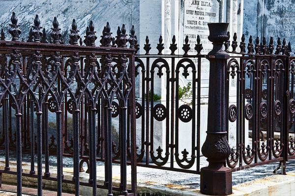 Iron Art Print featuring the photograph Wrought Iron Cemetery Fence by Kathleen K Parker