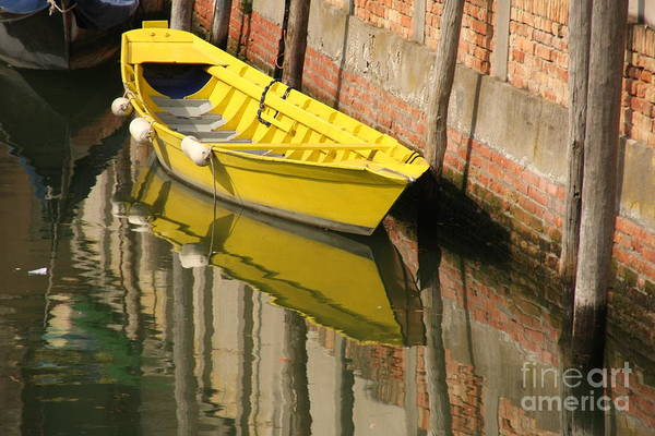Venice Art Print featuring the photograph Yellow Boat In Venice by Michael Henderson