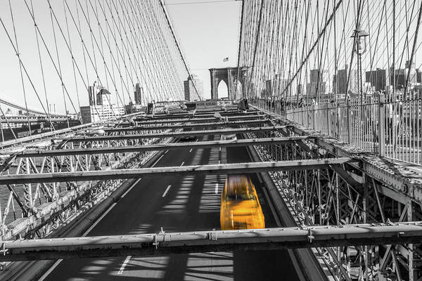 Big Apple Art Print featuring the photograph Yellow Cab On Brooklyn Bridge, New York 3 by Art Calapatia