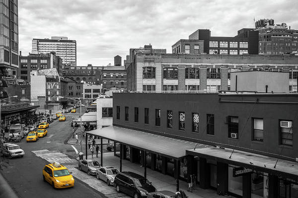 Big Apple Art Print featuring the photograph Yellow Cabs In Chelsea, New York 5 by Art Calapatia