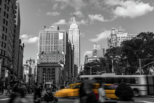 Big Apple Art Print featuring the photograph Yellow Cabs In Midtown Manhattan, New York by Art Calapatia