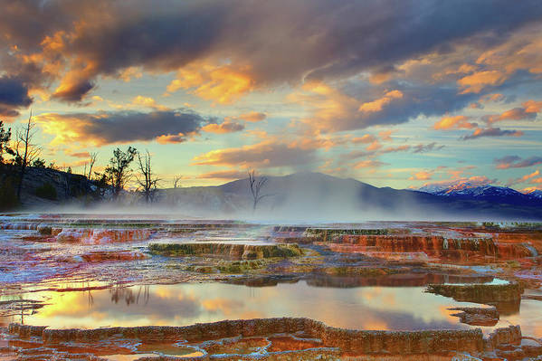 Horizontal Art Print featuring the photograph Yellowstone National Park-mammoth Hot Springs by Kevin McNeal