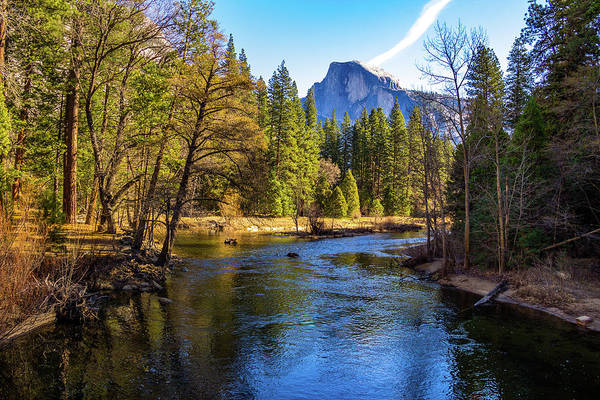 California Art Print featuring the photograph Yosemite Merced River With Half Dome by Roslyn Wilkins