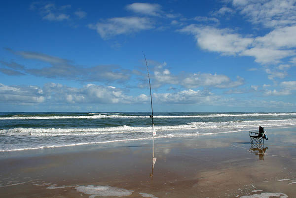 Fish Fishing Vacation Beach Surf Shore Rod Pole Chair Blue Sky Ocean Waves Wave Sun Sunny Bright Art Print featuring the photograph You Could Have Been There by Andrei Shliakhau