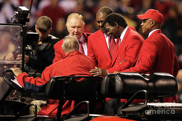 Red Schoendienst Art Print featuring the photograph 2011 World Series Game 6 - Texas by Jamie Squire