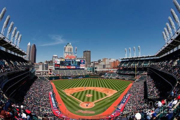 American League Baseball Art Print featuring the photograph Kansas City Royals V Cleveland Indians by Joe Robbins