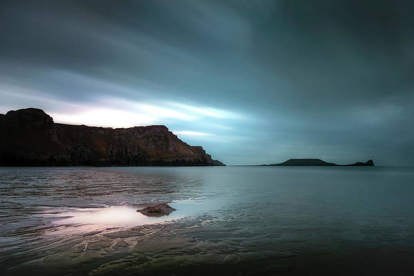 Long Exposure Art Print featuring the photograph Rhossili Bay And Worms Head by Leighton Collins