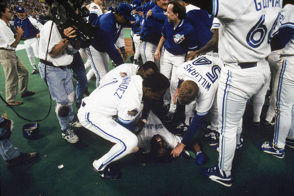 Toronto Art Print featuring the photograph 1993 World Series Game Six - 1993 by Mlb Photos