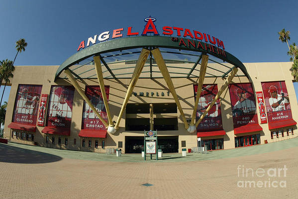 American League Baseball Art Print featuring the photograph Angel Stadium Of Anaheim by Doug Benc