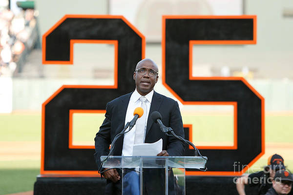 San Francisco Art Print featuring the photograph Barry Bonds San Francisco Giants Number by Lachlan Cunningham