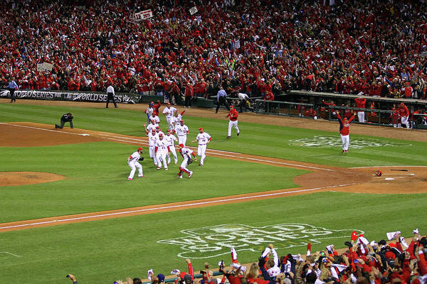 St. Louis Cardinals Art Print featuring the photograph 2011 World Series Game 7 - Texas by Dilip Vishwanat