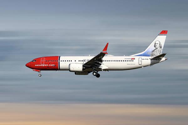 Norwegian Art Print featuring the mixed media Norwegian Boeing 737 Max 8 by Smart Aviation