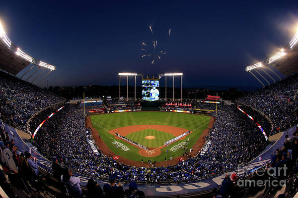 Firework Display Art Print featuring the photograph Alcs - Baltimore Orioles V Kansas City by Jamie Squire