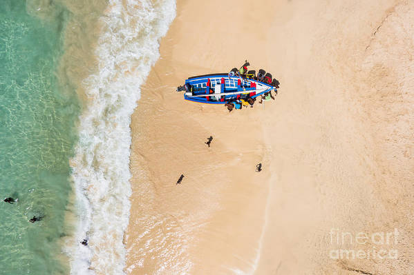 Country Art Print featuring the photograph Aerial Of A Traditional Fisher Boat In by Samuel Borges Photography