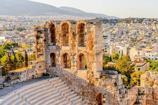 Capital Art Print featuring the photograph Amphitheater Of The Acropolis Of by Anton ivanov
