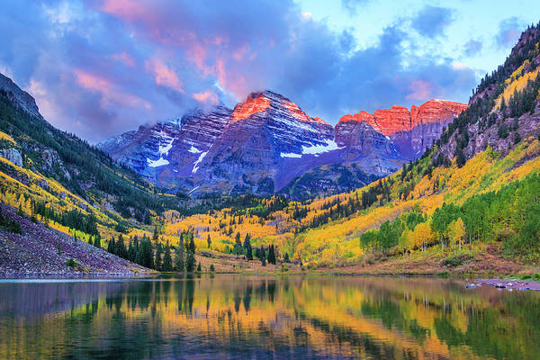 Scenics Art Print featuring the photograph Autumn Colors At Maroon Bells And Lake by Dszc