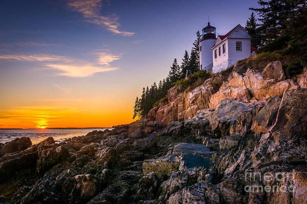 Cliffs Art Print featuring the photograph Bass Harbor Lighthouse At Sunset, In by Jon Bilous