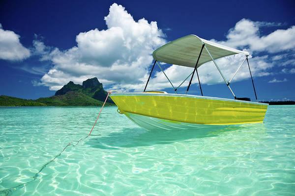 Motorboat Art Print featuring the photograph Bora-bora Idyllic Lagoon With Motor Boat by Mlenny