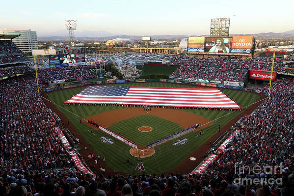 American League Baseball Art Print featuring the photograph Chicago Cubs V Los Angeles Angels Of by Sean M. Haffey