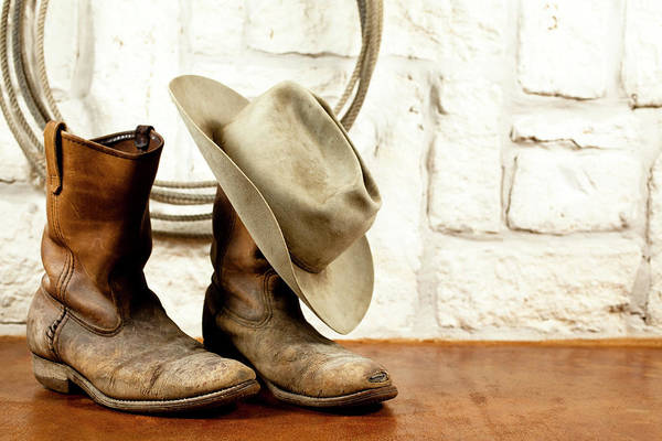 Casual Clothing Art Print featuring the photograph Cowboy Boots And Hat.  Austin Sandstone by Fstop123 6441e7e3b250