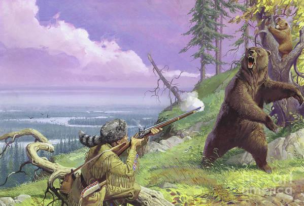 Daniel Art Print featuring the painting Daniel Boone Blazes The Wilderness Trail by Severino Baraldi