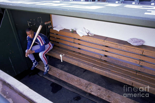 People Art Print featuring the photograph Darryl Strawberry Sits In The Dugout by Jonathan Daniel