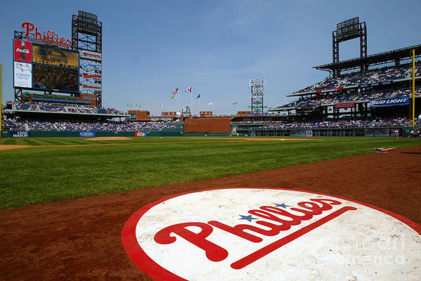 Scenics Art Print featuring the photograph Expos V Phillies by Jamie Squire