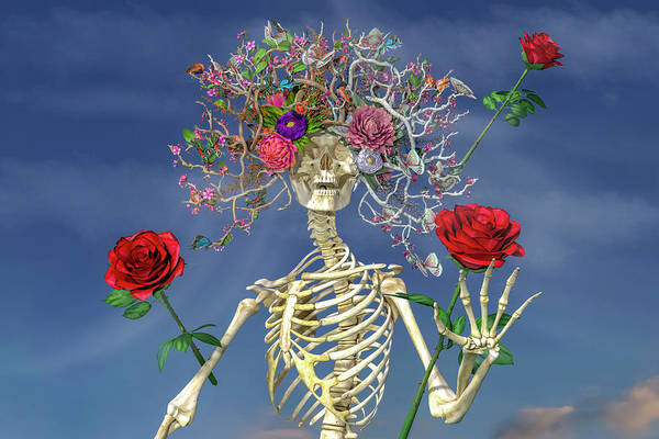 Skeleton Art Print featuring the digital art Grateful Greetings And Good Times by Betsy Knapp