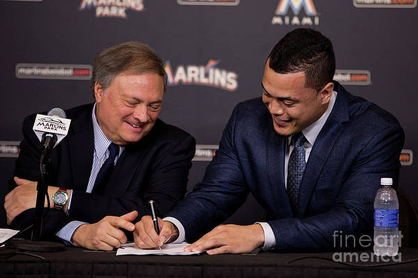 Jeffrey Loria Art Print featuring the photograph Miami Marlins Resign Giancarlo Stanton by Rob Foldy