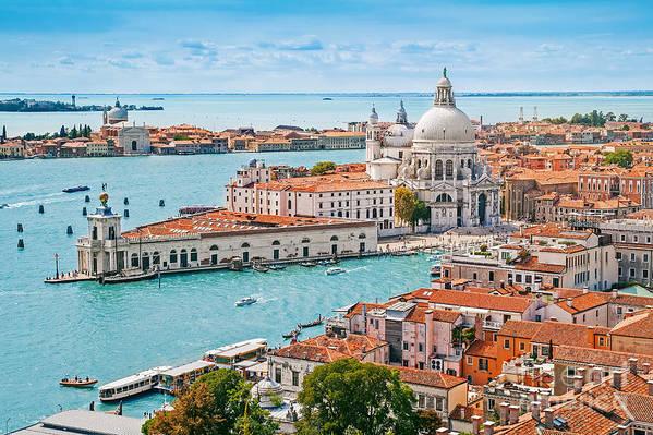 Love Art Print featuring the photograph Panoramic Aerial Cityscape Of Venice by Mariia Golovianko
