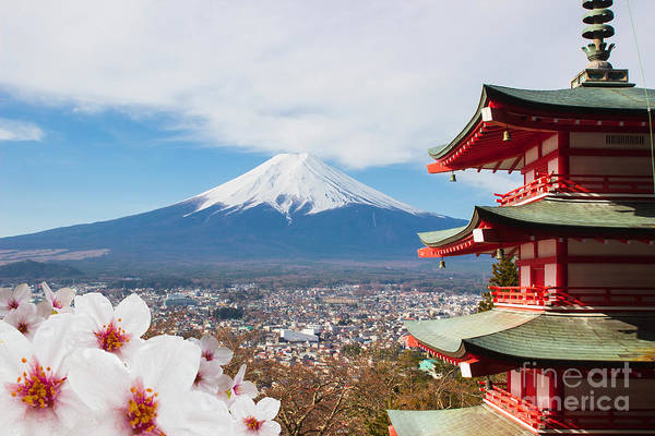 Symbol Art Print featuring the photograph Red Pagoda With Mt Fuji Background And by Tnshutter