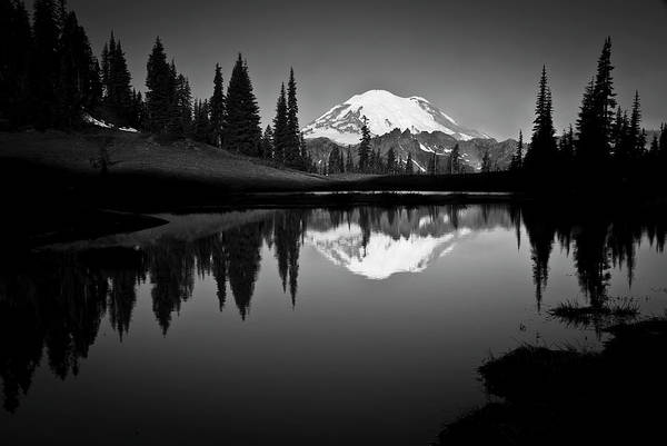 Scenics Art Print featuring the photograph Reflection Of Mount Rainer In Calm Lake by Bill Hinton Photography