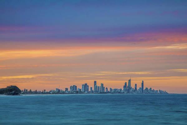 Gold Coast Skyline Art Print featuring the photograph Serene And Magical by Az Jackson