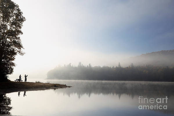 Dusk Art Print featuring the photograph Silhouette. Relaxing Morning On Lake by Barisev Roman