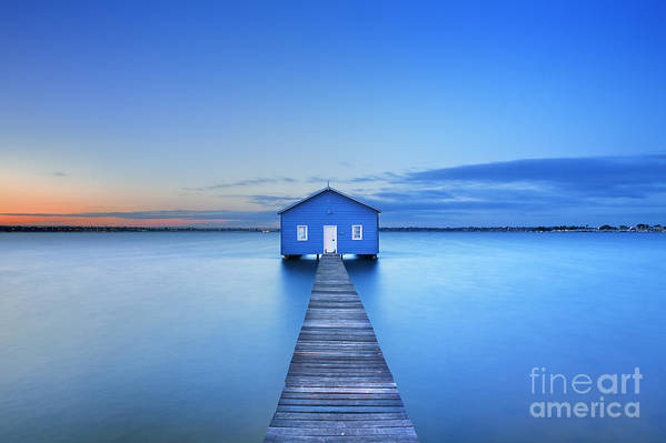 Shed Art Print featuring the photograph Sunrise Over The Matilda Bay Boathouse by Sara Winter