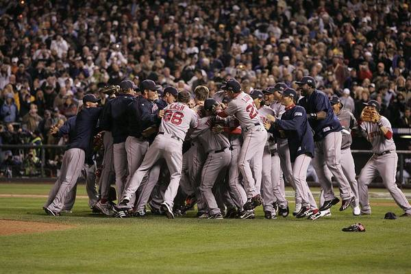 Celebration Art Print featuring the photograph World Series Boston Red Sox V Colorado by Rich Pilling