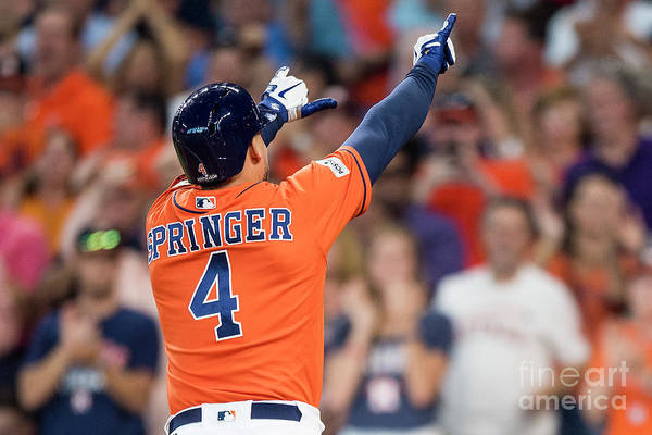 Game Two Art Print featuring the photograph George Springer by Billie Weiss/boston Red Sox