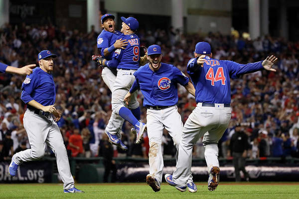 People Art Print featuring the photograph Addison Russell, Kris Bryant, And Javier Baez by Ezra Shaw