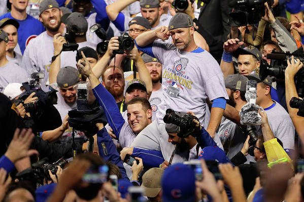 American League Baseball Art Print featuring the photograph Anthony Rizzo, David Ross, And Jason Heyward by Jamie Squire