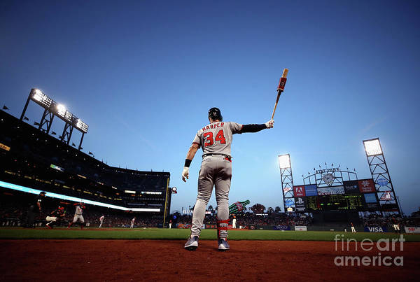 San Francisco Art Print featuring the photograph Bryce Harper by Ezra Shaw