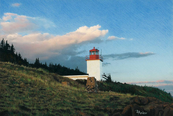 Lighthouse Art Print featuring the drawing Cape D'or by Brent Ander