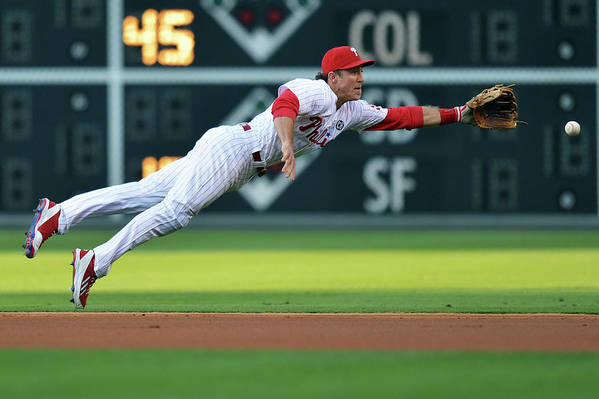 Ball Art Print featuring the photograph Chase Utley by Drew Hallowell