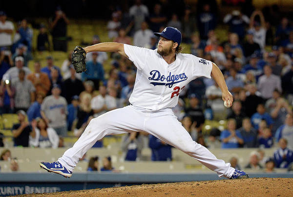 Ninth Inning Art Print featuring the photograph Clayton Kershaw by Kevork Djansezian