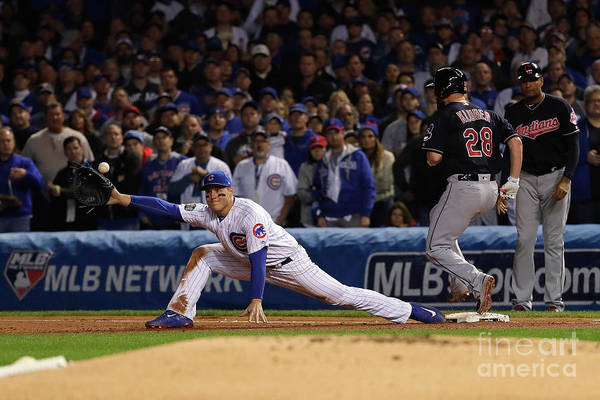 Second Inning Art Print featuring the photograph Corey Kluber, Anthony Rizzo, And Kris Bryant by Jamie Squire