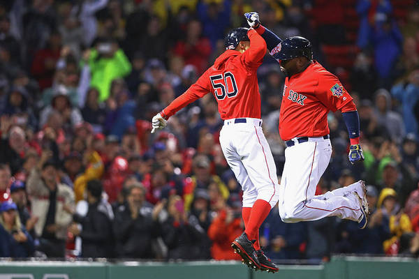 American League Baseball Art Print featuring the photograph David Ortiz And Mookie Betts by Maddie Meyer