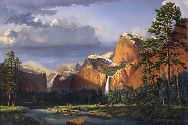 American Art Print featuring the painting Deer Meadow Mountains Western Stream Deer Waterfall Landscape Oil Painting Stormy Sky Snow Scene by Walt Curlee