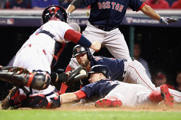 People Art Print featuring the photograph Dustin Pedroia And Brock Holt by Maddie Meyer