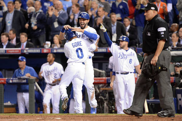 Playoffs Art Print featuring the photograph Eric Hosmer And Terrance Gore by Ron Vesely