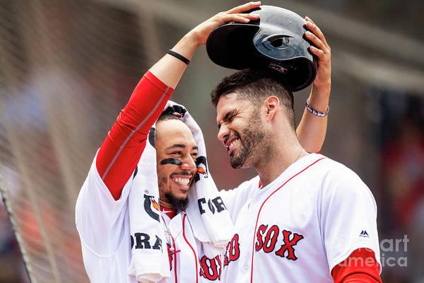 Headwear Art Print featuring the photograph J. D. Martinez by Billie Weiss/boston Red Sox